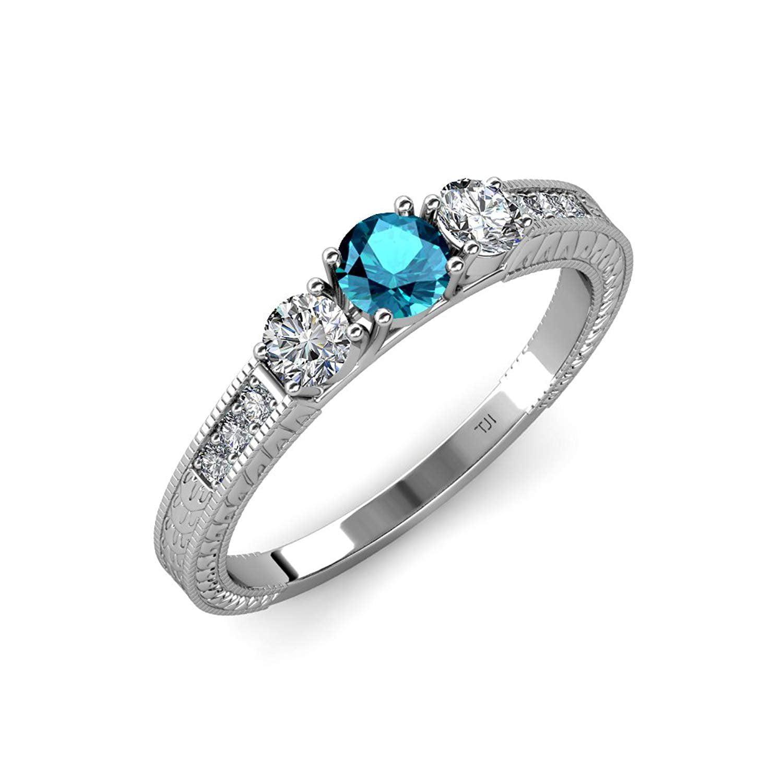 London Blue Topaz & Diamond Milgrain Work 3 Stone Ring with Side Diamond 0.85 ct tw 14K White Gold.size 4.5 by TriJewels