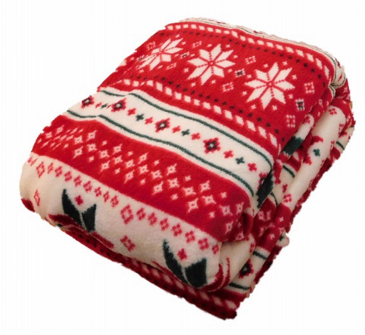 HD Designs Microplush Christmas Fair Isle Twin Full Bed Fleece ...