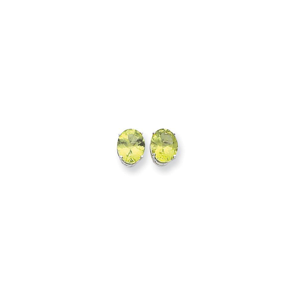 14k White Gold 10x8mm Oval Peridot Earrings. Gem Wt- 5.6ct (0.4IN x 0.3IN )