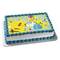Pokemon Happy Birthday Pikachu Balloons Present Edible Cake Topper Image