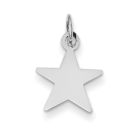 14k White Gold .013 Gauge Engravable Star Pendant Charm Necklace Disc Shaped For Women