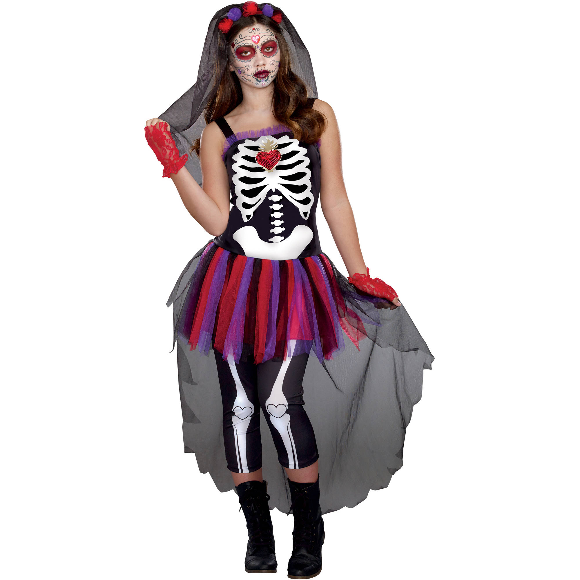 Day of the Dead Darling Teen Girls' Halloween Costume, Large