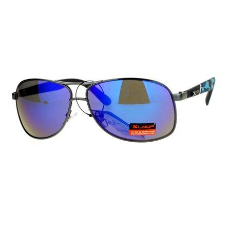 SA106 Mens Camouflage Arm Narrow Rectangular Sport Aviator Sunglasses Gunmetal (Aviator Sunglasses For Narrow Faces)