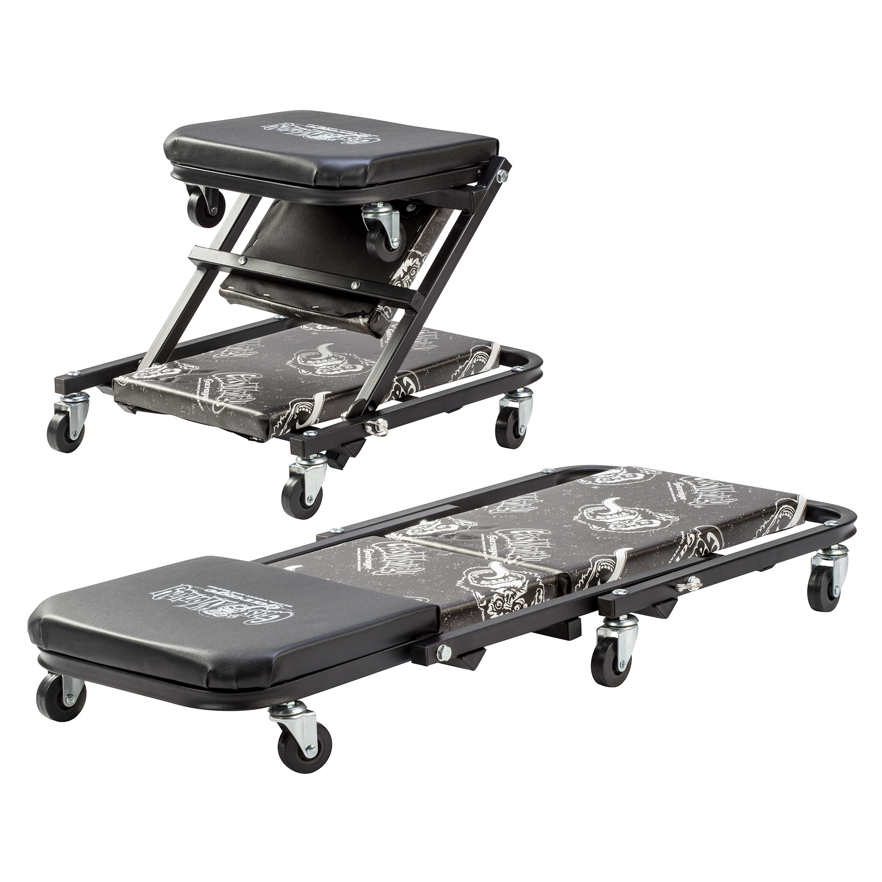 Gas Monkey Garage Z Creeper Mechanic Seat - Six Rolling Casters with 300 Lbs Capacity for Automotive Car Garage