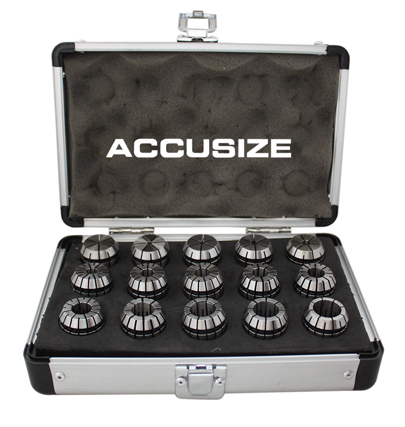Accusize - 15 Pcs ER-25 Set, Sizes from 1/16'' to 5/8'' in Fitted Strong Aluminum Box, #0223-0835 - image 1 de 3
