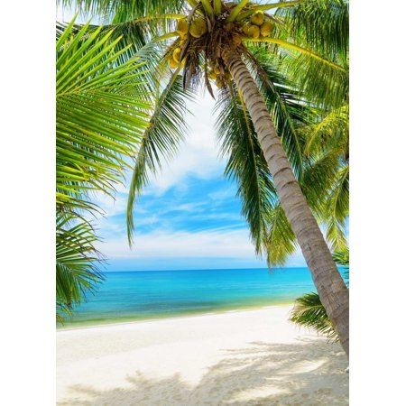 GreenDecor Polyester Fabric 5x7ft Hawaii Palm tree on Sandy beach photo backdrop wedding holiday Background](Beach Photo Backdrop)