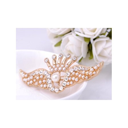 Golden Tone Faux Pearl Bead Rhinestone Crown Angel Wings Fashion Pin Brooch