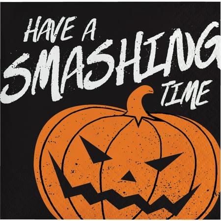 Halloween Smashing Pumpkin 2-Ply Beverage Napkins, 28-Count