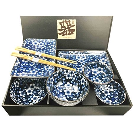 Sushi Set For Two - Made in Japan Floral Blossom Blue Motif Ceramic Sushi Dinnerware 8pc Set For Two Consisting Pairs of Sushi Plates Soup Sauce Bowls and Chopsticks Great Housewarming Gift For Sushi Enthusiasts