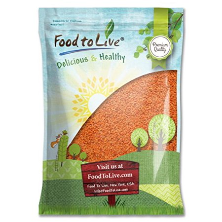 Rainbow Lentils - Red Split Lentils, 10 Pounds - Kosher, Raw, Sodium Free, High in Fiber - by Food to Live