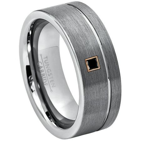 0.05ctw Princess Cut Black Diamond Tungsten Ring - 8MM Brushed Finish Pipe Cut Tungsten Carbide Wedding Band - April Birthstone Ring - 14kt Rose Gold Bezel - TN030PSRG-1BDs9.5 Cut Tungsten Wedding Ring