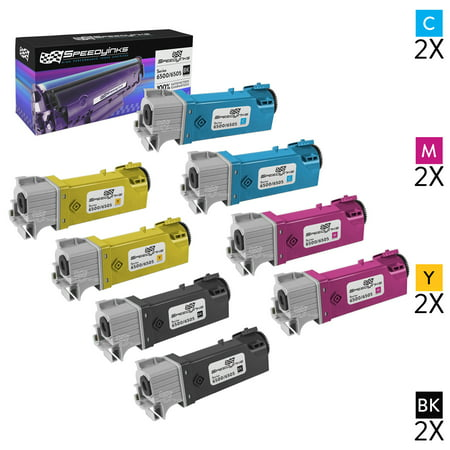 SpeedyInks - Compatible Xerox 6500 Set of 8 Toner Cartridges 106R01597 106R01596 106R01595 106R01594 for Phaser 6500, WorkCentre 6505 Printers: 2 Black, 2 Cyan, 2 Magenta, 2 Yellow ()