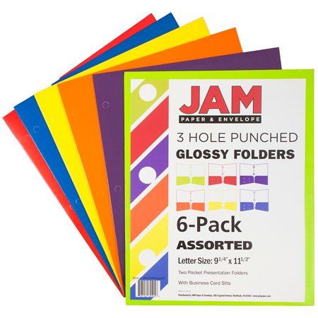 JAM Paper Laminated Two Pocket Glossy 3 Hole Punch Folders, Assorted Primary Colors, 6/pack (Paper Folder Accessories)