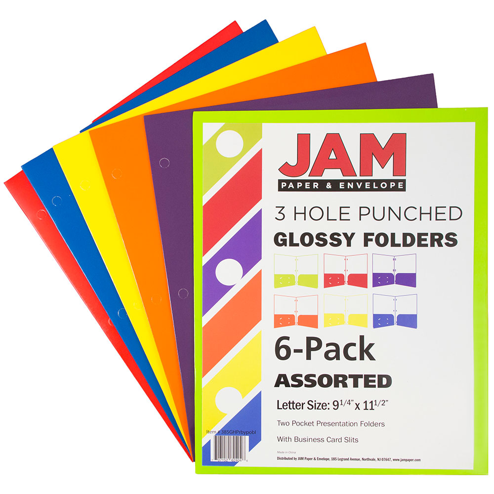 JAM Paper Laminated Two Pocket Glossy 3 Hole Punch Folders, Assorted Primary Colors, 6/pack