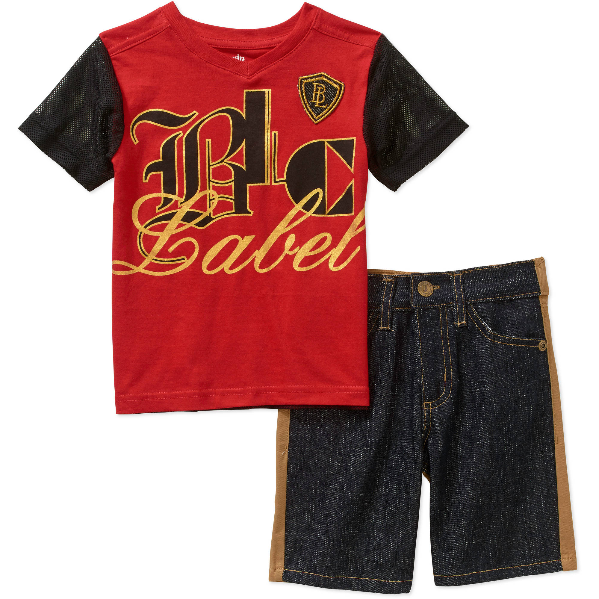 Blac Label Toddler Boys' 2-Piece Knit Tee & Plaid Shorts Set