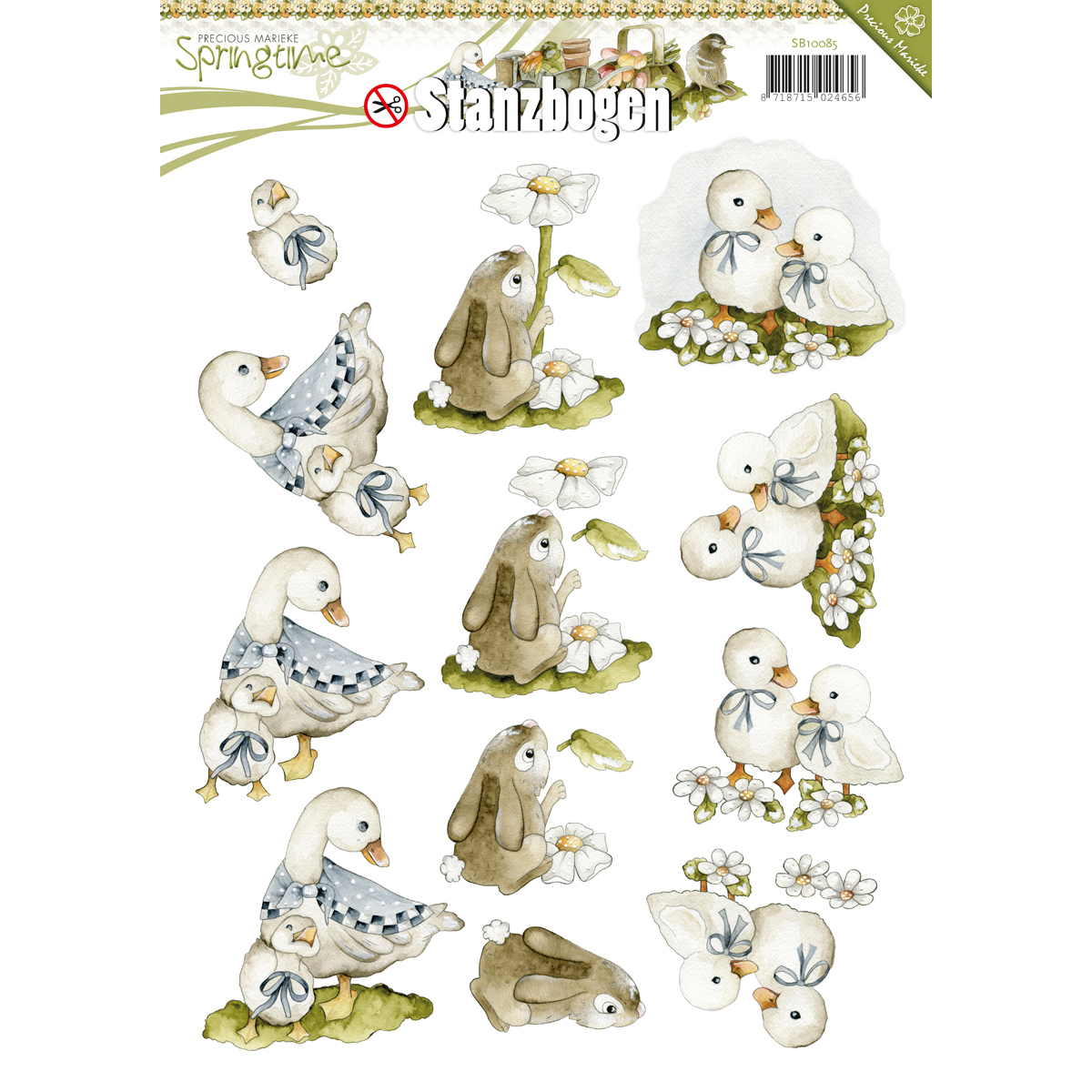 Find It Precious Marieke Springtime Punchout Sheet-Goose, Bunny & Duck