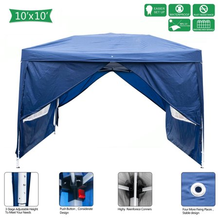 Zimtown 10' x 10' Folding Tent Gazebo Wedding Party Canopy pop up Instant Shelter W/ Two Doors & Two Windows and Carry Bag Blue