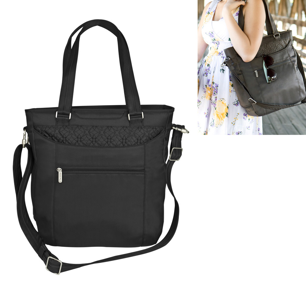 Travelon Anti Theft RFID Blocking Signature Tote Purse Bag Travel Safe Black !