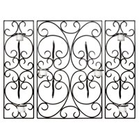 Old World Scrolls Wrought Iron 3-Piece Candle Wall Sconce - 23.6H in.