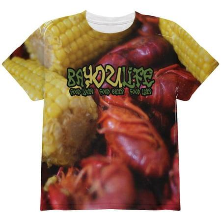Bayou Life Crawfish Boil Cajun Louisiana All Over Youth T - Cajun Boil