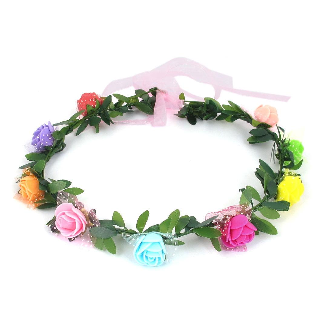 Lady Party Flower Decor Adjustable Headdress Hair Crown Wreath Multicolor