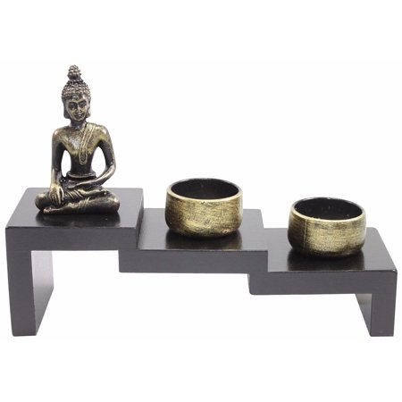 Tabletop Stairway Style Zen Garden Buddha Candle Holder Home Decor Relaxing (Buddha Home Decor)