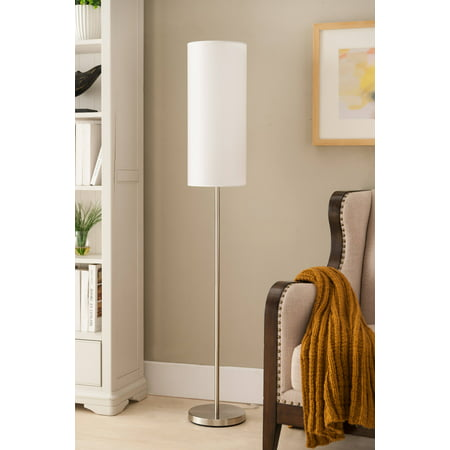 Maylee Brushed Nickel With White Cylinder Fabric Shade