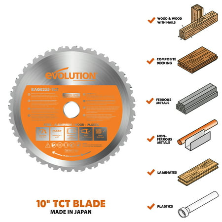 "Evolution Power Tools 10"" Multi-Material Blade, RAGE255BLADE"