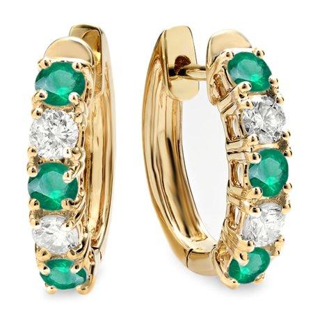 Dazzlingrock Collection 10K Round Emerald & White Diamond Ladies Huggies Hoop Earrings, Yellow Gold Emerald Huggies Earrings