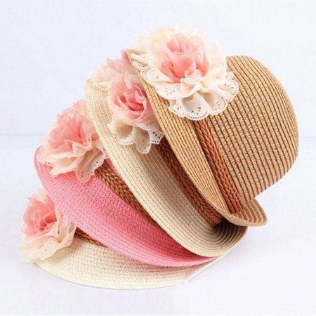 Baby Girl Wide Brim Trilby Straw Cap Sun Hat Beach Summer Floral Sunhat](Straw Hat Chinese)