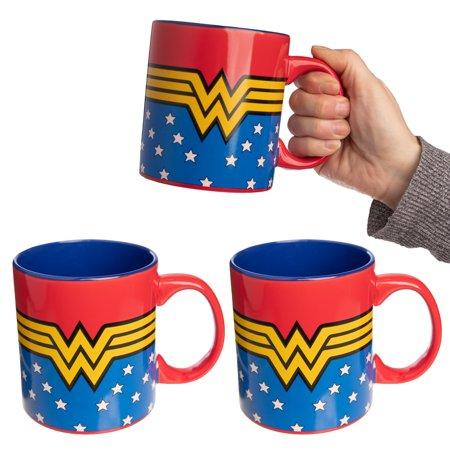 DC Comics (3 Pack) 20 oz XL Wonder Woman Mug, Ceramic Wonder Woman Coffee Mug, Coffee Cups, Gifts For Women, Wonder Women Party Favors, Wonder Women Party