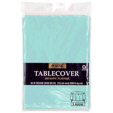 Amscan 77018 121 84 Inch Round Plastic Table Cover Robins Egg Blue