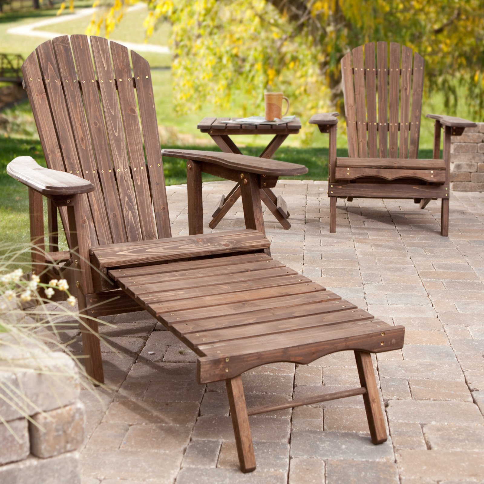 Coral Coast Big Daddy 3 pc. Reclining Adirondack Chairs with Pull-out Ottoman Set and Side Table Dark Brown by