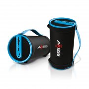 Axess Portable Bluetooth 2.1 Hi-Fi Cylinder Speaker w/SD Card, AUX & FM Inputs, 4″ Sub.-Blue