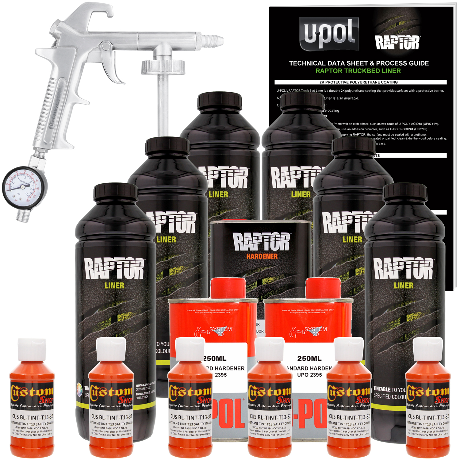 U-POL Raptor Safety Orange Urethane Spray-On Truck Bed Liner Kit w/ FREE  Custom Coat Spray Gun with Regulator, 6 Liters