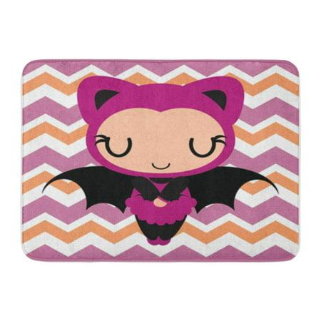 KDAGR Cute Bat Girl Sleeps on Chevron Cartoon for Halloween Doormat Floor Rug Bath Mat 23.6x15.7 inch](Floor 12 On 100 Floors Halloween)