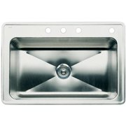 """Blanco 440282-4 Magnum 22"""" X 33"""" Single-Basin Stainless Steel Drop-In 4-Hole Residential Kitchen Sink, Satin"""