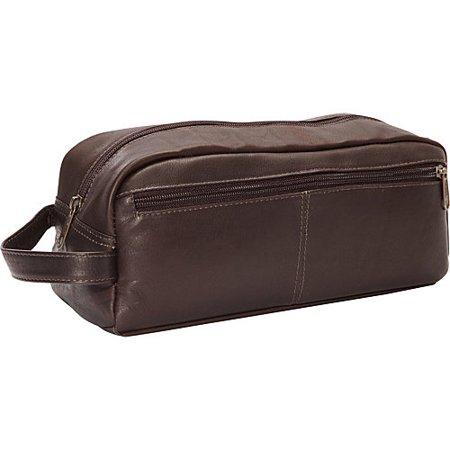 Large Multi Pocket Leather Shave Kit w Front Zippered Pocket (Black)