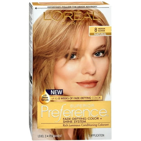 3 Pack - L'Oreal Superior Preference Permanent Hair Color, 8 Medium Blonde (Natural) 1 (3 Pack Colour)