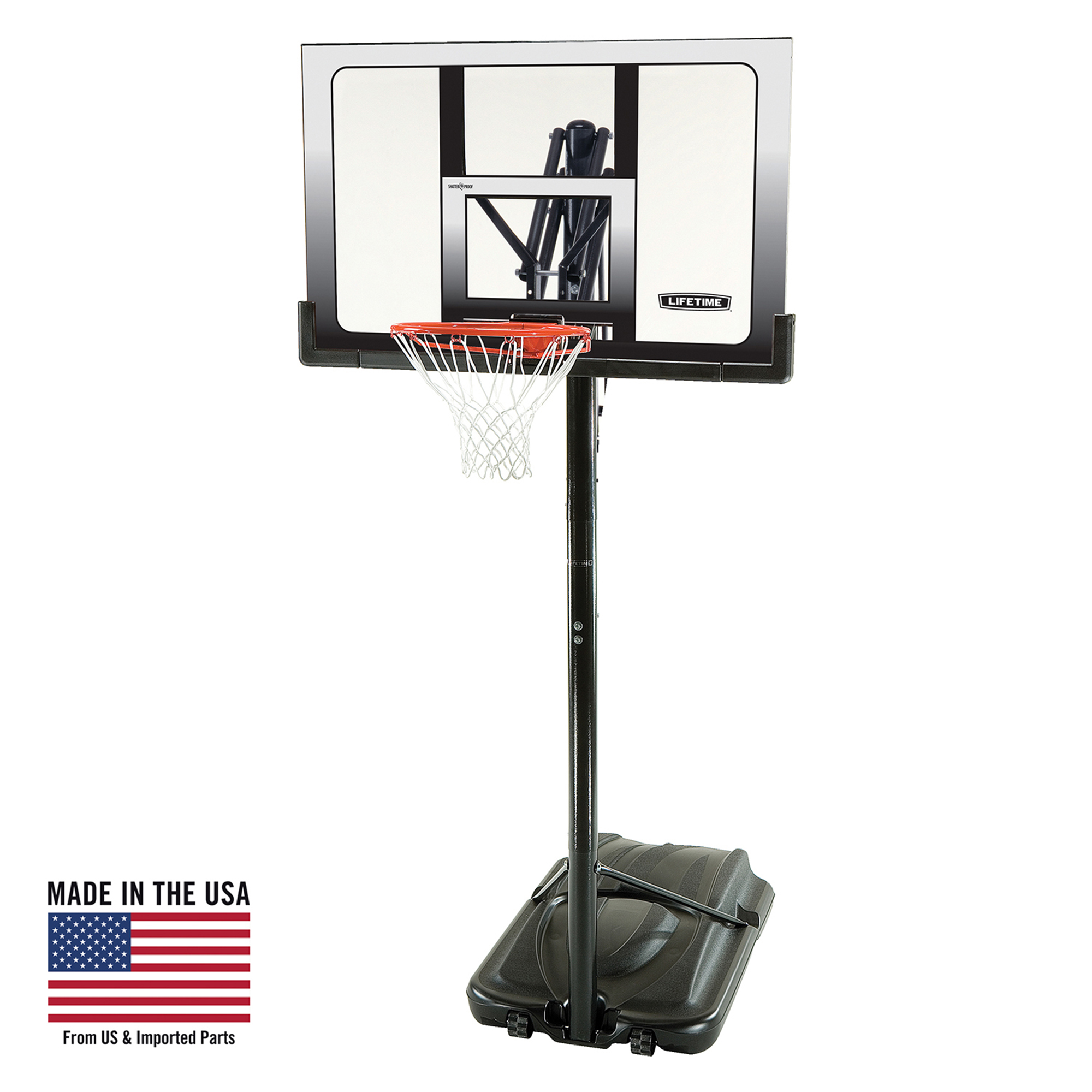 "Lifetime 52"" Shatterproof Portable Infinite Height Adjustable Basketball System, 71286"