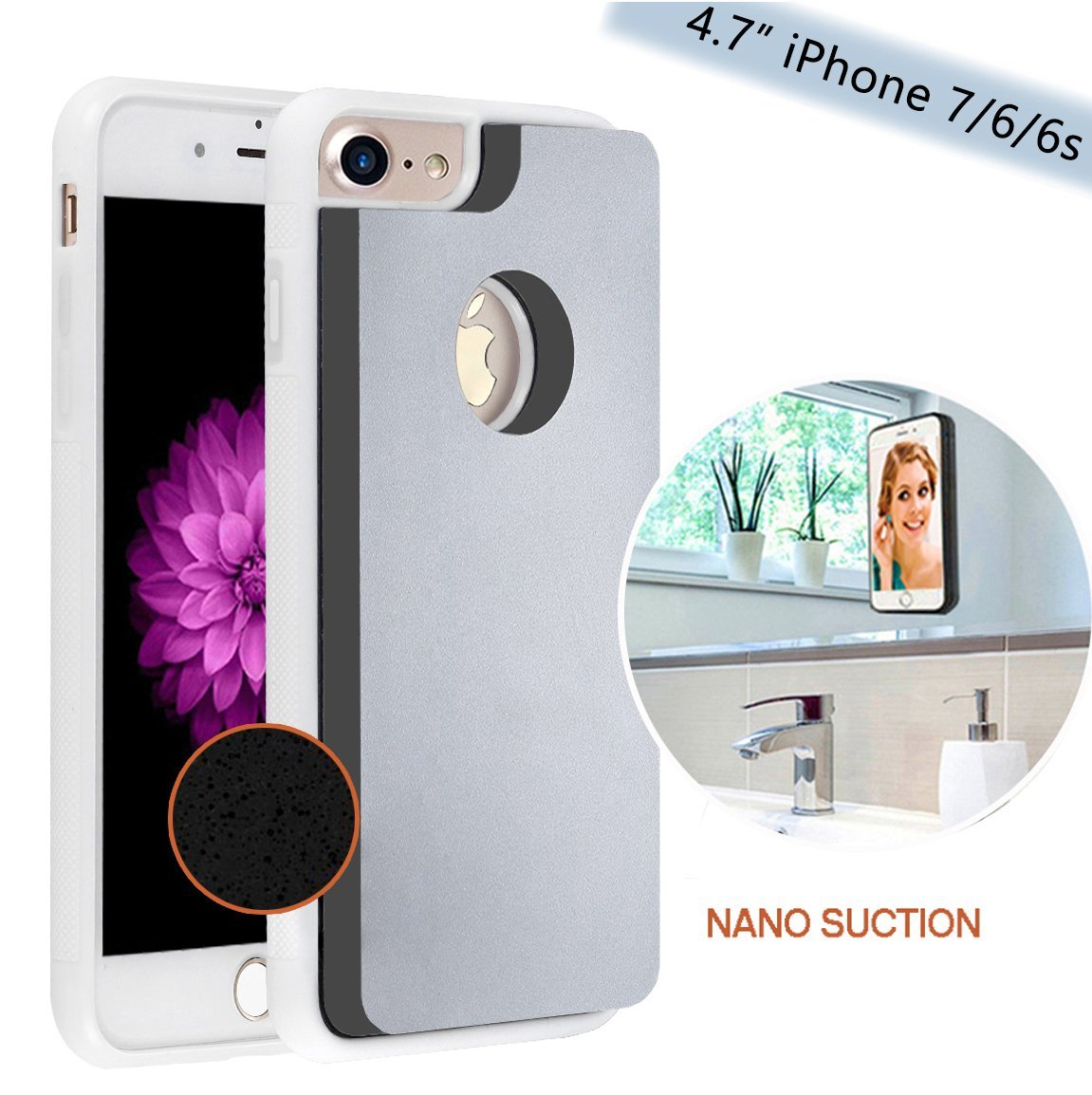 iPhone 6 / iPhone 7 Magical Nano Anti Gravity Phone Case - Can Stick to Glass, Whiteboards, Tile and Smooth Flat Surfaces