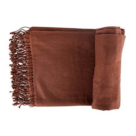 Peach Couture Home Collection Luxurious Authentic Cashmere Wool and Silk Throws Blanket Scarf Brown ()