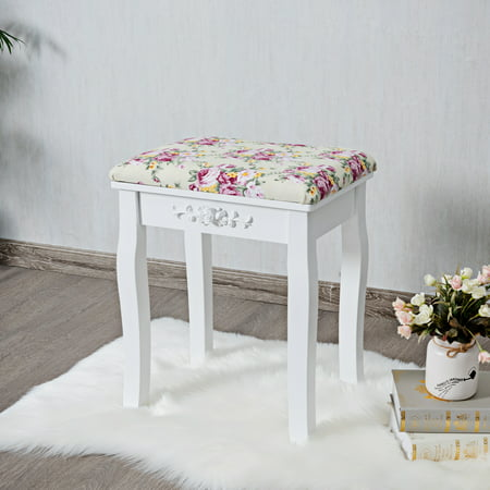 Costway Vanity Wood Dressing Stool Padded Chair Makeup Cushion White ()