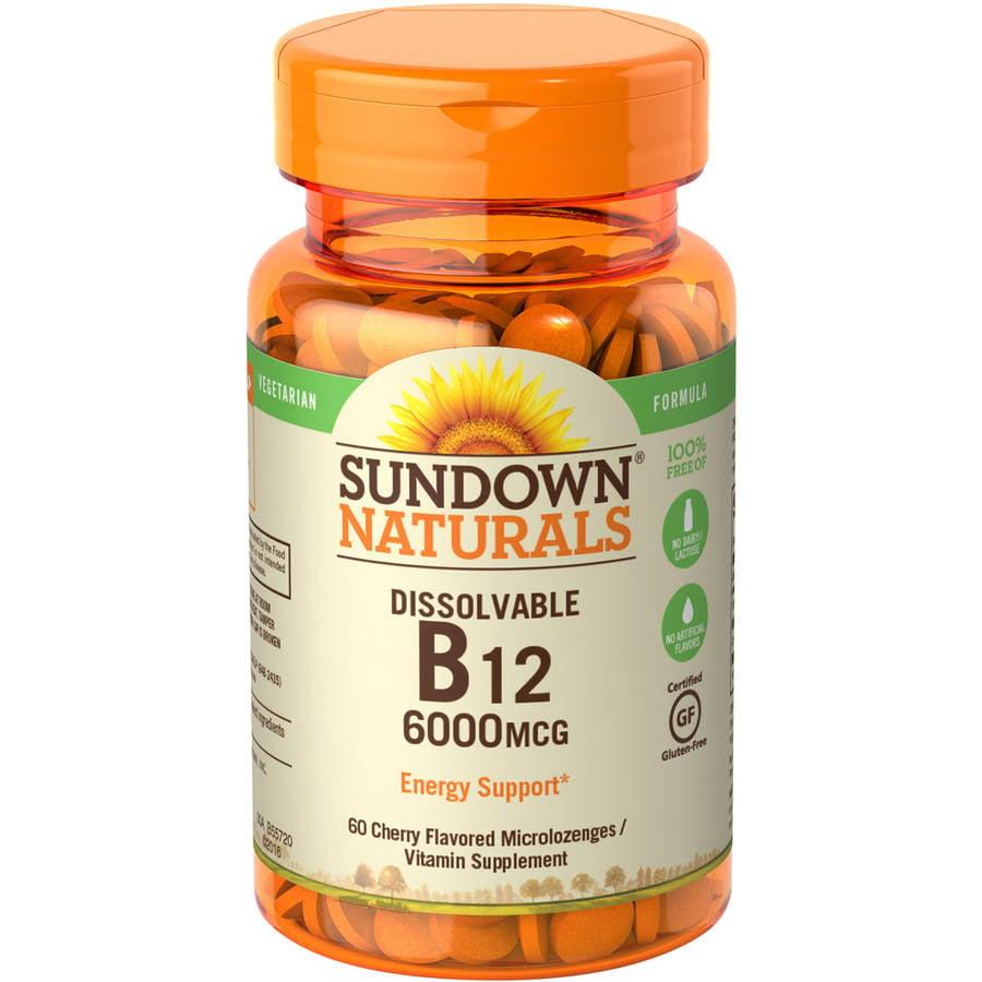 Sundown Naturals Super Potency Sublingual B12 Vitamin Supplement Tablets, 6000mcg, 30 count