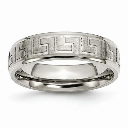 Mia Diamonds Titanium Ridged Edge Greek Key Design 6mm Satin and Polished Wedding Engagement Band Ring Size - 9.5