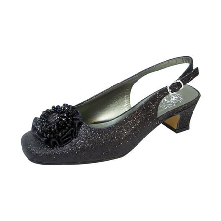 - FLORAL Dara Women Extra Wide Width Flower Bow Glitter Slingback