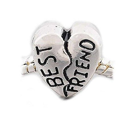 Best Friend Heart Bead Spacer European Bead Compatible for Most European Snake Chain Charm