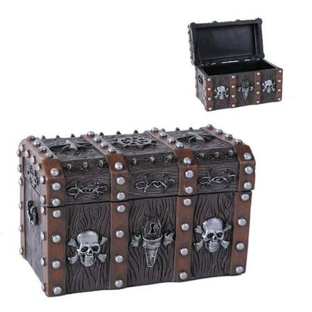 Caribbean Pirate Hatchet Skull Skeleton Dead Man's Chest Treasure Box Jewelry Box Figurine Pirates Caribbean Skeleton