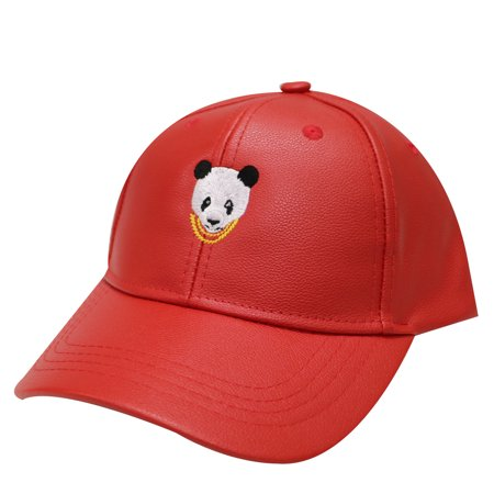 City Hunter Lc200 Swag Panda Faux Leather Baseball Cap 7 Colors (Red)