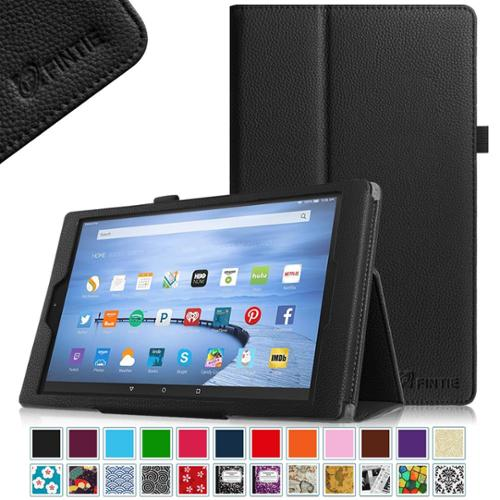 Fintie Amazon Fire HD 10 2015 Folio Case Slim Fit PU Leather Standing Cover with Auto Wake / Sleep, Black